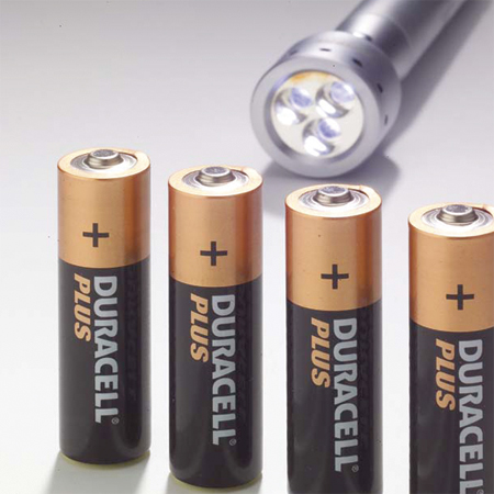 Self-adhesive label on the battery Duracell